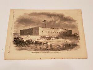 Fort Pulaski Savannah River Georgia Original 1861 Civil War Engraving