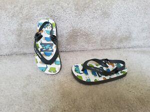 Billabong Baby Grey White Flip flops Sandals Size Infant 9 VGC