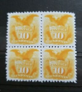 US Stamps Sc #116 1869 10C Yellow Eagle & Shield Block Replica Place Holders