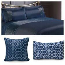 Navy Blue & Silver Foil Embossed Print Duvet Cover and Pillowcase Bedding Set