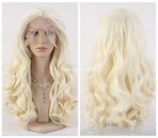 Women Long Curly Wavy Blonde Heat Resistant Synthetic lace front Cosplay wig