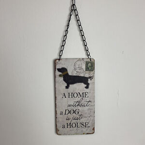 Pet Dog Love Beige Brown Distressed Chain Home Decor Wall Hanging Plaque Sign