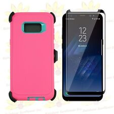 Pink Tl Samsung S8+ Case w/ Tempered Glass Screen & Clip Fits Otterbox Defender