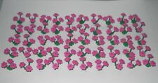 50 NEW LEGO GREEN PLANT STEMS WITH DARK PINK FLOWERS (150 INDIVIDUAL FLOWERS)