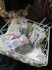 6 pcs Hand Made DRIED LAVENDER SACHETS Hanging Vintage Ivory Lace Bag - Fragrant