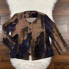 Citron Santa Monica Womens Sz Small Brown Blue Texture Blazer Jacket Lightweight