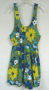 Vintage 60s 70s Romper Floral Barkcloth Hawaiian Cotton Boho Daisy Blue Green