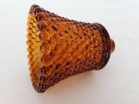 "1 Vtg Amber Glass Hobnail Peg Votive Cups Candle Holders Homco Sconce 3.75"" EUC"