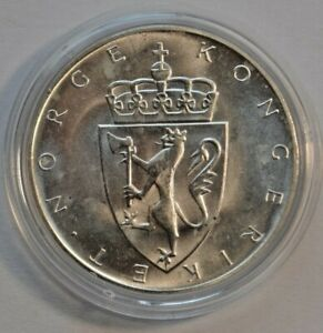 Norway 1964 Sesquicentennial of the Constitution 10 Kroner Silver Coin KM# 413