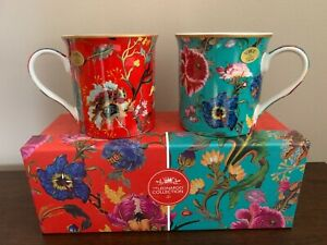 Set of 2 Mugs William Morris Anthina Floral Red Green Gift Box Coffee Tea Cup