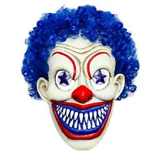 Funny Realistic Blue Clown Latex Hair Face Mask Halloween Costume Cosplay Prop