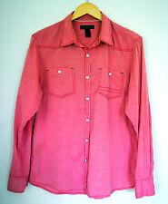 INC International Concepts Shirt Men's Medium Red Chambray Button Long Western M