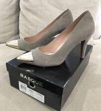 Super Cute BASQUE Beige Suede Leather Heels Pumps 39.5 EU 8.5 US Great Condition