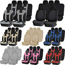 Premium Universal Double Stitched Polyester Car Low Back Seat Bench Cover Combo