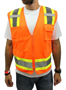 SMALL -Surveyor Solid Orange Two Tones Safety Vest , ANSI/ ISEA 107-2015