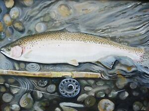 OIL GONE FISHING  LISTED ARTIST CLIVE FREDRIKSSON FREE SHIPPING TO ENGLAND
