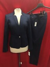 NINE WEST PANT SUIT/NEW WITH TAG/SIZE 14/INSEAM 31'/NAVY/BLAZER LINED/COTTON