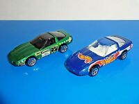 Hot Wheels Lot of 2 Loose Cars '80s Corvette Green & Blue Race Team