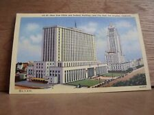 1930-40s America Linen Postcard Los Angeles Post Office Federal Buiid California