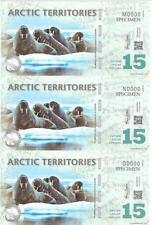 Arctic Territories $15 Specimen Polymer Uncut 3in1 (UNC)