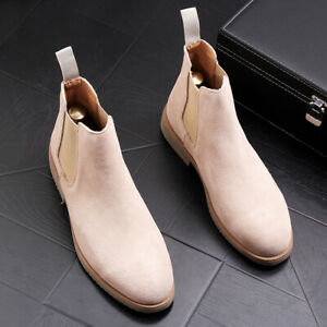 Mens Chelsea Boots Suede Block Heel Casual Ankle Booties High Top Shoes Pull On