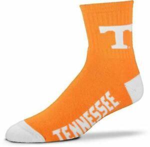For Bare Feet Quarter High Socks Orange & White Tennessee Volunteers Sz Large