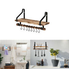 """17"""" Industrial Wall Pipe Shelving Bookcase Wood Wall Storage Floating Shelf&hook"""