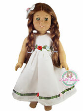 "DR WHITE DRESS W/ROSETTE for 18"" American Girl Dolls Roses Outfit Clothes NEW"