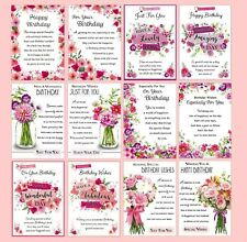 PACK OF 12 Open Female Birthday Cards - Multi Pack Flowers Lady Floral Art Verse