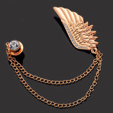 1pc Angel Wing Shirt Suit Collar Brooch Pin Tassel Chain Unisex Accessories