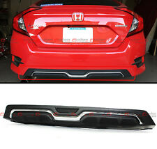 For 2016-18 Honda Civic X Sedan Carbon-Look Texture Chrome Rear Bumper Diffuser