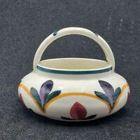 Vintage Schramberg Pottery Small Basket Stylized Flowers Art Deco Germany SMF