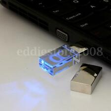32GB USB 2.0 Crystal Blue LED Light Flash Drive Memory Stick Pen Storage U Disk