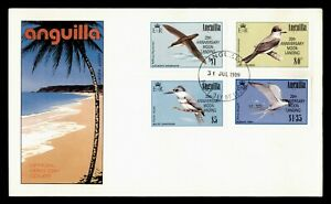 DR WHO 1989 ANGUILLA FDC SPACE MOON LANDING ANIV BIRD OVPT COMBO  g00435