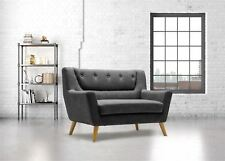Birlea Lambeth 2 Seater Grey Medium Sofa Settee Scandinavian Modern Retro