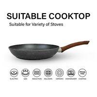 24/28/32cm Marble Coated NonStick Cookware Cook WOK Pan Frypan Bakelite Grip AU