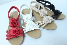 Women's Flower Sandals Wedge Heel Ankle Strap shoes size 6 7 8 9 10 11