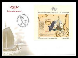 Iceland 2003 FDC, Nordia Stamp Exhibition, 2003 Reykjavik, Lot # 1.