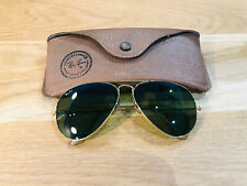 Vintage Ray Ban Aviators B&L Sunglasses Bausch&Lomb USA 58[]14 Gold RB3 Used