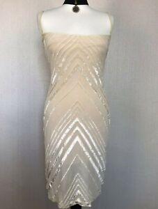 KAREN MILLEN Beige Velvet Stripe Dress 10 Sleeveless Bodycon VTG