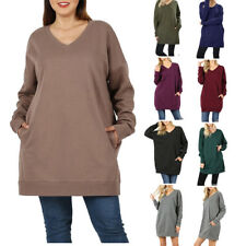 Womens V-Neck Over-sized Pullover Sweater Tunic Long Sleeve With Side Pockets