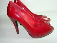 WOMENS RED PATENT LEATHER OPEN TOE STILETTO PUMPS HIGH HEELS SHOES SIZE 6.5 M