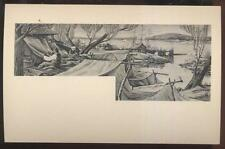 1940s Postcard Hyde Park Ny Post Office Mural #4 Unloading Rum De Cantillon 1795