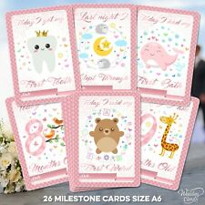 Baby Milestone Cards Keepsakes Girl Age Daughter First Shower Favours Birthday