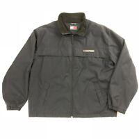 VTG Tommy Hilfiger Mens L Jacket Blue Full Zip Long Sleeve Bomber Fleece Lined