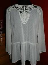 Women's Daniel Rainn Stitch Fix White Sheer Jennipher Peplum Blouse NWT LARGE