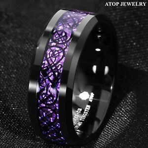 8mm Black Tungsten Purple Carbon Fiber Wedding Band Ring ATOP Jewelry
