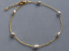 "Tone Ankle Bracelet w/Oval Beads-Italy 925 9"" to 10""Adj Sterling Silver Two"