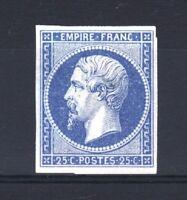 "FRANCE YVERT 15  SCOTT 17  "" EMPEROR NAPOLEON 25c BLUE 1853 "" MNG F SIGNED  T201"