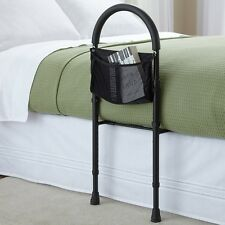 Safety bed rail mobility aid adjustable in height with storage pocket